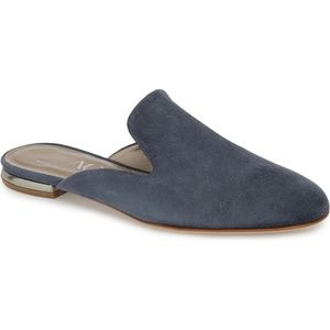 NEW AGL Suede Slide-On Flats Mules Shoes Blue 6.5